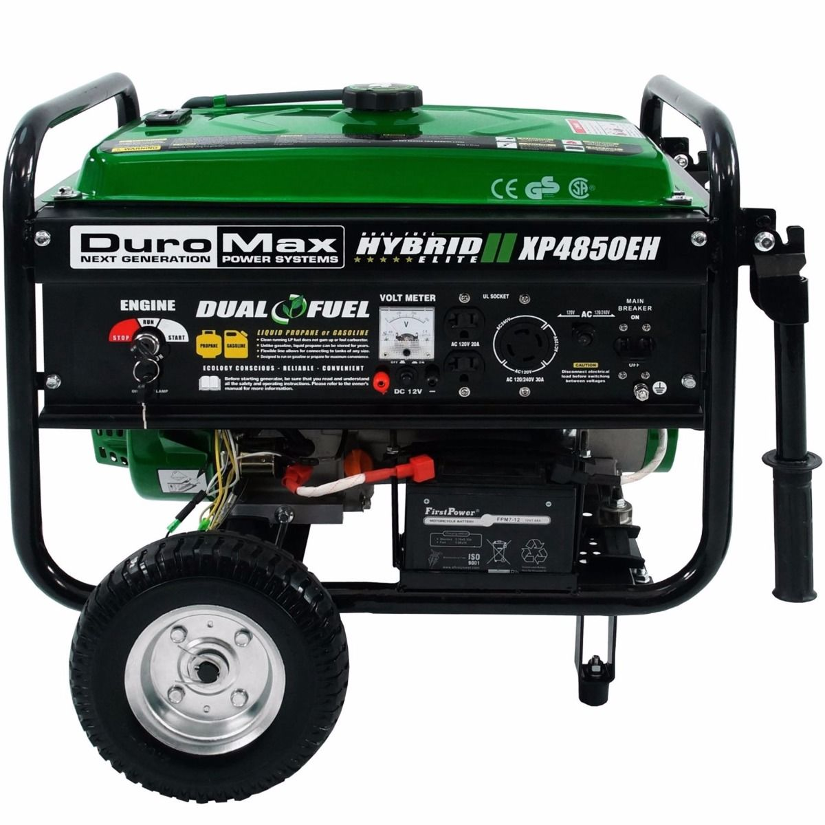 DuroMax XP4850EH 4850 watt Dual Fuel Hybrid w/ Electric Start-Battery  included-120V/240V 30 Amp Twist Lock Receptacles-Low oil shut-off Free  Shipping