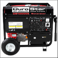 DuroStar DS10000E 10000-Watt 18-Hp Gas w/ Electric Start AC and DC Reg-& Wheel Kit-Low oil shut-off-EPA and CARB-FREE SHIPPING (SKU: DuroStar DS10000E)
