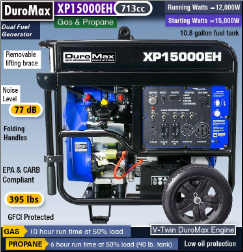 DuroMax XP15000EH Dual Fuel.V-Twin Hybrid 713cc23.7HPGAS/LP Electric Start Battery included-wheel kit-50AMP 120/240--EPA/Calif Compliant-Free shipping