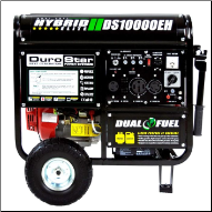 DuroStar DS10000EH 10000-Watt 18-Hp Dual Fuel HYBRID w/ Electric Start,W/Battery-120v/240v 50 Amp-AC/DCRegLow Oil Shutoff-Wheel kit-FREE SHIPPING (SKU: DuroStar DS10000EH)