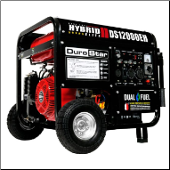 DuroStar DS12000EH 12000-Watt 18-Hp Dual Fuel HYBRID w/ Electric Start,W/Battery-120v/240v 50 Amp-AC/DCRegLow Oil Shutoff-Wheel kit-FREE SHIPPING (SKU: DUROSTAR DS12000EH)