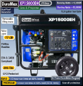 DuroMax XP15000EH Dual Fuel.V-Twin Hybrid 713cc23.7HPGAS/LP Electric Start Battery included-wheel kit-50AMP 120/240--EPA/Calif Compliant-Free shipping (SKU: Duromax XP15000EH)