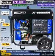 Generac DuromaxXP15000EH-bi-fuel gas/lp W/Elect Start 50amp-120/240v 20hp Battery-Wheel Kit included  Battery charger Hour meter Contractors Favorite,Compliant  49 State Free Shipping (SKU: XP15000EH HYBRID BI-FUEL GAS/LP)