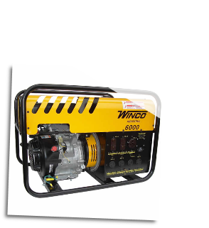 Winco WC6000HE Watt Electric Start w/ Honda 11 HP Engine Rotating Field Brush for starting motors •Automatic idle control •Hour meter •Fuel cap with indicator gauge •Multiple GFCI outlets CARB/CSA/EPA Free Lift Gate Shipping