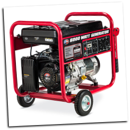 All Power America 6000E watt Recoil Start 9 HP 4 Stroke OHV Generator Low Oil Shutdwn120v Two AC duplex 120V outlets, one 120V locking plug out  Free Shipping (SKU: APGG6000)