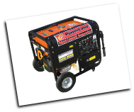 Powerland Duromax10,000E W Bi-Fuel=Gas-Propane-W/Electric Start 16 hp ohv Battery Wheel Kit included Volt Meter 120/240 6 outlets 50ampAC Recep Low oil shutoff -EPA/CARB compliant idle control Contractors choice In Stock=Free Shipping (SKU: PD3G10000E-XP10000EH)