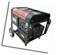 "Powerland -DUROMAX10,000E Wt 16 HP Elect Start Gasoline Includes Battery Low Oil Shutoff Auto Voltage Reg Idle Control 120/240 5 outlets 2x20Ax120v 1x30Ax120v 1x30Ax120/240v 1x50Ax120/240 10.5""WheelKit 10.5"" rubber tires Power Panel -Free Shipping (SKU: PD10000E)"